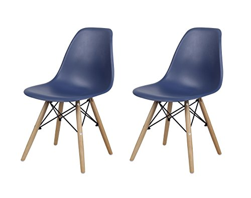 GIA Armless Home Office/Side Dining Chair Eames Style Wood Legs Easy Assembly, Extra Durable and Comfortable, Navy Blue, Set of 2 -