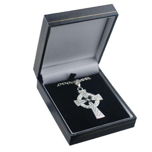 Croix Celtique de 41x29mm en argent, motif de noeuds en relief avec bélière et chaîne Cable