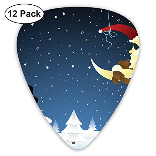 Moon and Snowman Guitar Picks, 12 Pack Unique Designs Stylish Colorful Guitar Picks for Bass, Electric and Acoustic Guitars
