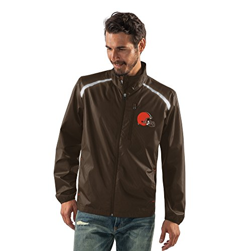 G-III Sports NFL Cleveland Browns Men's Storm Full Zip Packable Jacket, Medium, Brown