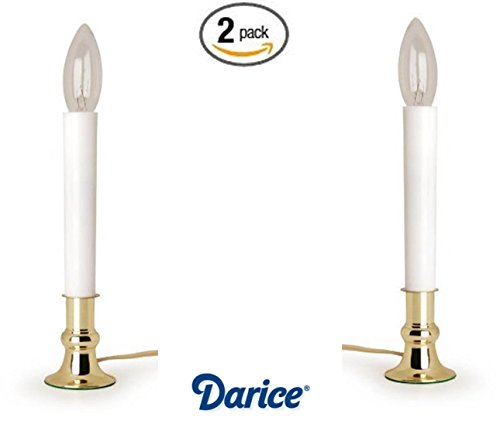 Brass 2 Candle - Darice 6206 Brass Plated Candle Lamp with On/Off Sensor (2)