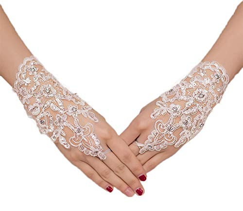 Okaybridal Women's Fingerless Bridal Gloves Short Ivory Lace With Rhinestone Wedding Bridal Accessories