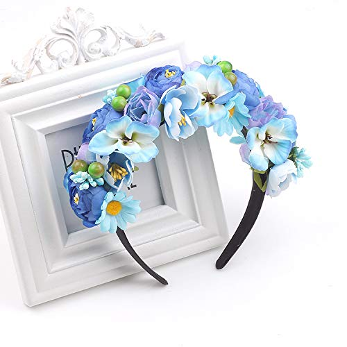 SaveStore Women Artificial Flowers Wreath Crown Garland Halo for Wedding Festivals Girls Women Wreath Headpiece Boho Floral Crown Headband