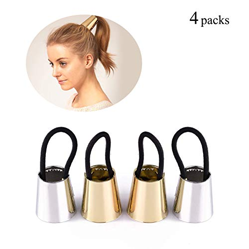 Hair Ponytail Holder Metal Hair Ties Gothic Punk Gold Hair Cuff for Girls Women Opened Circle Hair Elastic Bands Silver Hair Ring Horsetail Buckle Simple Smooth Rope Cone for Thin Thick Hair Accessory
