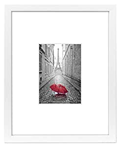 11x14 white picture frame matted to fit for 11x14 table top frame