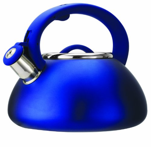 Primula Avalon Whistling Kettle - Whistling Spout, Locking Spout Cover, and Stay-Cool Handle - Stainless Steel - 2.5 Quarts - Matte Blue