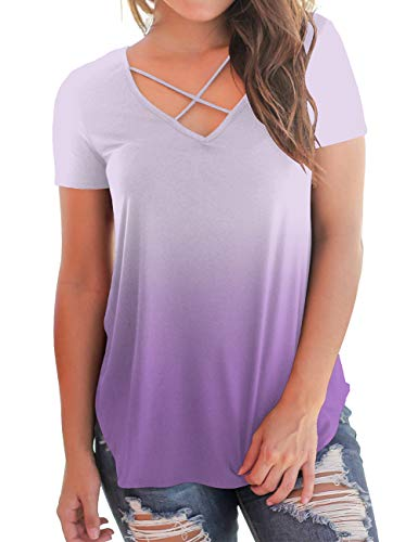 Casual Summer T-Shirts for Teen Girls Ombre Short Sleeve Tee Cross V-Neck Tops M ()