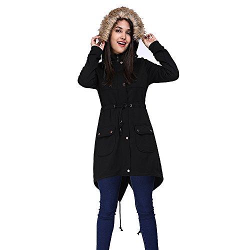 Top Fancyqube Women's Elegant Drawstring Waist Parka Fur Collar Hooded Thick Coat free shipping