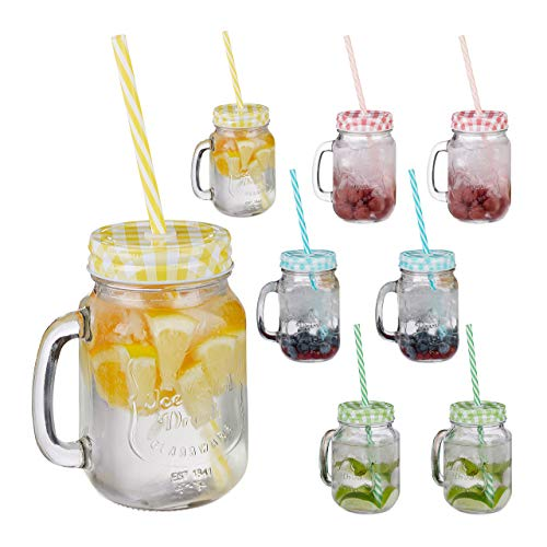 Relaxdays Drinking Mason Jam Jars Straws Handles, Set of 8, 400 ml, Colourful Iced Beverages Glass Set, Standard from Relaxdays