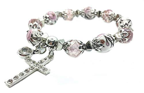 Nazareth Store Religious Cross Bracelet Christian Classic beaded Bangle with Pink Crystal Beads Sacred Gift for Teen Girls Jewelry for Women & Men ()