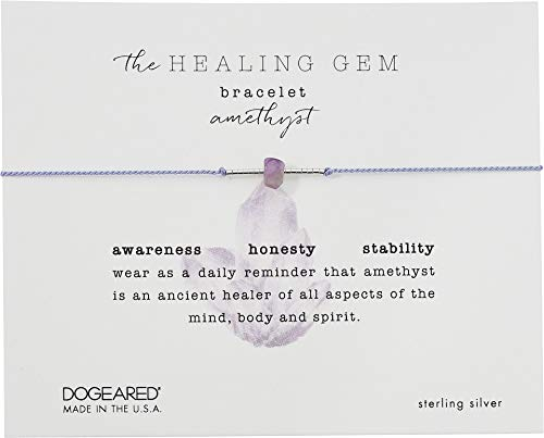 Dogeared Women's The Healing Gem Bracelet, Amethyst On Silk w/Accent Beads Silver/Lilac One Size by Dogeared (Image #2)