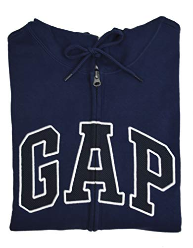GAP Mens 218871 Embroidered Arch Logo Fleece Full Zip Hoody Sweater Navy Blue (X-Large)