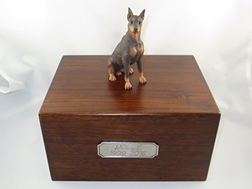 - Beautiful Paulownia Large Wooden Urn with Red Doberman Pincher Figurine & Personalized Pewter Engraving