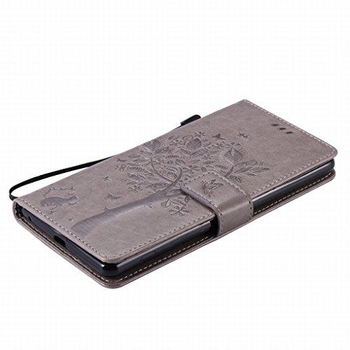 Custodia Sony Xperia C5 Ultra (E5553, E5506) Cover Case, Ougger Alberi Gatto Printing Portafoglio PU Pelle Magnetico Stand Morbido Silicone Flip Bumper Protettivo Gomma Shell Borsa Custodie con Slot p