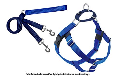 2 Hounds Design Freedom No-Pull Dog Harness and Leash, Adjustable Comfortable Control for Dog Walking, Made in USA (Small 5/8) (Royal Blue)