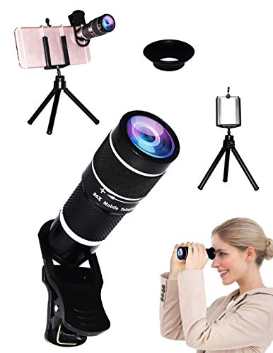 Universal 20X Clip-On Telephoto Monocular Telescope Eyecup Telescope Camera Mobile Smartphone Zoom Lens Tripod Mount Suitable Almost 98% smartphones on the market compatible iPhone SamsungGalaxyHuawei by Bostionye