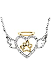 Diamond Angel Heart Paw Pendant with Chain in Sterling Silver (1/10 cttw)