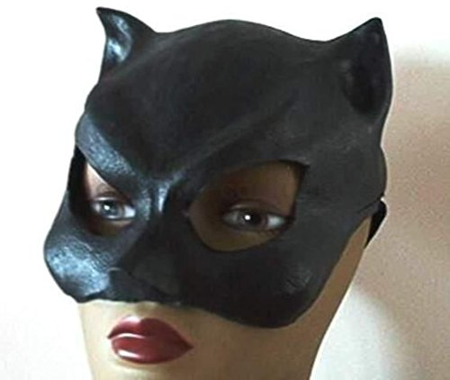 [Mememall Sexy Black Cat Woman Latex Half Mask Ears Halloween Costume Prop 25004] (Latex Catwoman Costumes)