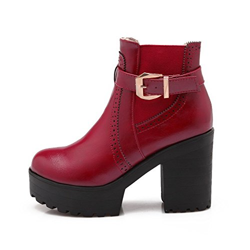 High Red Allhqfashion top Women's Boots on Solid Round Heels Pull Toe Closed Low ZZf4q
