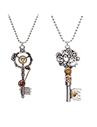 Fityle 2Pcs Vintage Antique Steampunk Gear Key Pendant Necklace Gothic Jewelry Gift