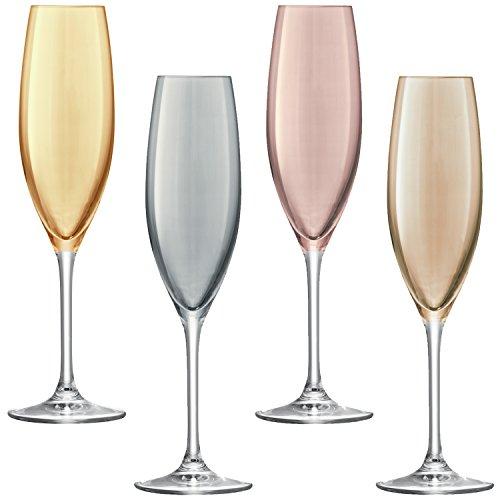 LSA International Metallic Polka Champagne Flute (4 Pack), 7.6 fl. Oz., Assorted