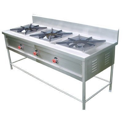 Apm Ss Three Burner ( 24″ X 60″ X 34″ ) Steel Burner, Bhatti, Gas Stove, Triple Burner Gas Range