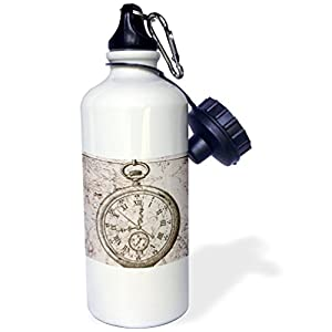 "3dRose wb_110249_1″Vintage Stop Watch Steampunk Art"" Sports Water Bottle, 21 oz, White"