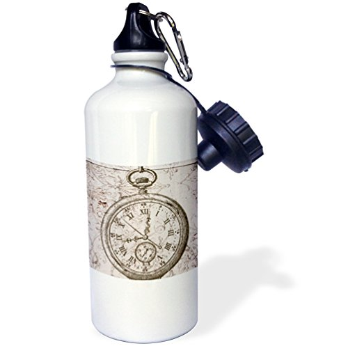 "3dRose ""Vintage Stop Watch Steampunk Art"" Sports Water Bottle, 21 oz, White 3"
