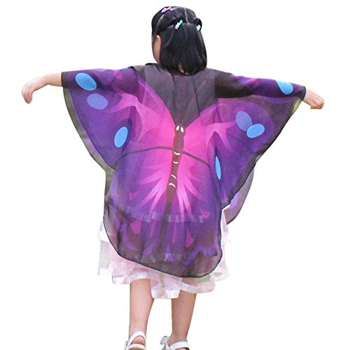 vermers Child Kids Costume Shawls and Wraps Boys Girls Bohemian Butterfly Print Shawl Pashmina Costume Accessory(Purple) ()