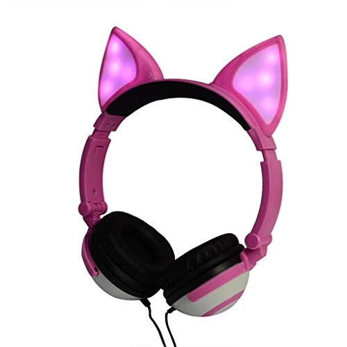 Birdfly Lovely Network Anchor Flashing Glowing Fox Ear Headphone Gaming Headset LED Light Earphone (Pink)]()