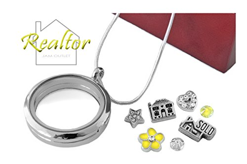 Realtor Memory Locket Pendant Set  Real Estate Floating Charms  Sterling Plated Necklace  Boxed