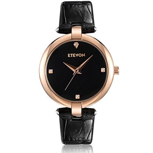 ETEVON Women's Casual Crystal Quartz Leather Watch with Black Dial and Rose Gold Stainless Steel Case, Simple Dress Wrist Watches for Women Ladies (Glossy Black Dial)