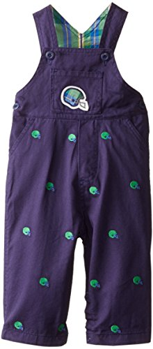Hartstrings Baby Boys Football Motif Embroidered Twill Overalls, Sports Embroidery, 18 Months