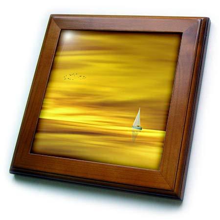 Sky Tile Framed - 3dRose Lens Art by Florene - Everything Gold - Image of Sailboat On Golden Waters with Matching Sky - 8x8 Framed Tile (ft_291040_1)