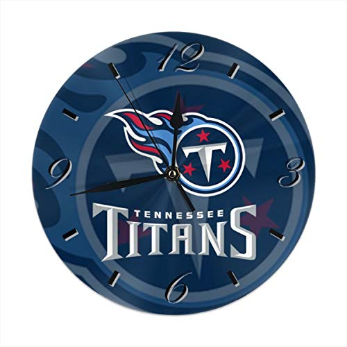 Aoskin Tennessee Titans Silent Non Ticking 9.8 in Quality Quartz Battery Operated Round Easy to Read Home/Office/School Clock