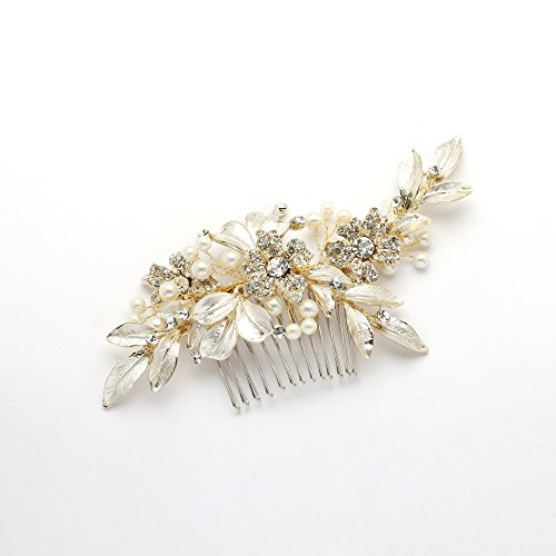 Mariell Designer Gold Bridal Hair Comb with Hand Painted Silvery-Golden Leaves and Pave Crystals Gold Enameled Flower