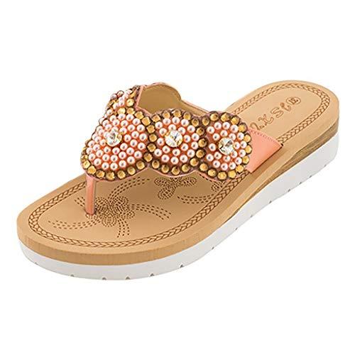 (Clearance Sale! Women's Slippers Shoes, Jiayit Women Ladies Bohemia String Bead Flat Flip-Flop Beach Casual Shoes Summer)