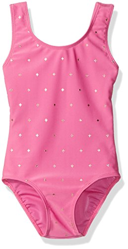 Danskin Girls' Big Girls' Gymnastics Sparkle Leotard, Twinkle Pink, Medium