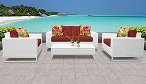 TK Classics miami-05F-terracotta Miami 5piezas al aire libre mimbre muebles de jardín de 05F con 2fundas: vela blanco y