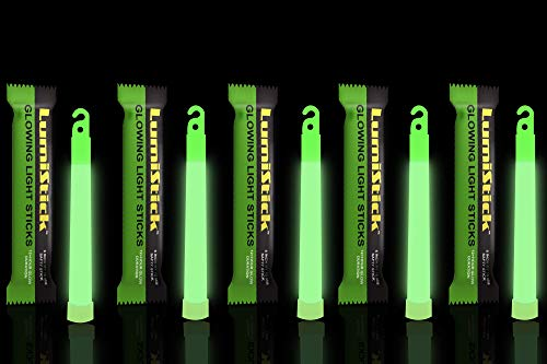 (Lumistick 6 Inch Glowstick Rods - Individually Packed Emergency Light Stick - 12 Hour High Intensity Glow Lights (Green, 12)