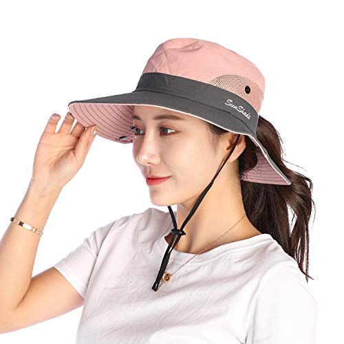VICSPORT Women Sun Hat Wide Brim Bucket Mesh Boonie Cap Outdoor Fishing Hats UV Protection Pink
