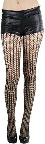 - ToBeInStyle Women's Seamless Spandex Stripes Crocheted Pantyhose Hosiery Tights - Black - One Size: Regular