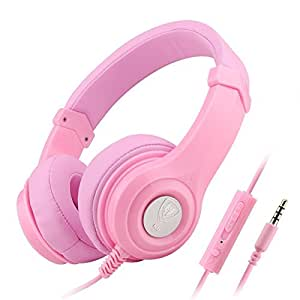 Darkiron N8 Headphones Headset with In-line Mic and Volume Control, Extremely Soft Ear Pad, Cute Earphones for Cellphone Smartphone Iphone/ipad/laptop/tablet/computer/MP3/MP4/etc. (Pink)