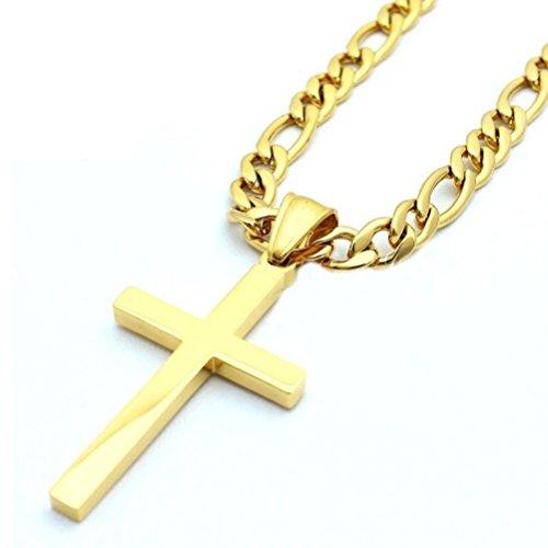"""SANDRA Design 18-32""""Mens Stainless Steel 4.5Mm Golden Figaro Link Chain Necklace Cross Pendant"""
