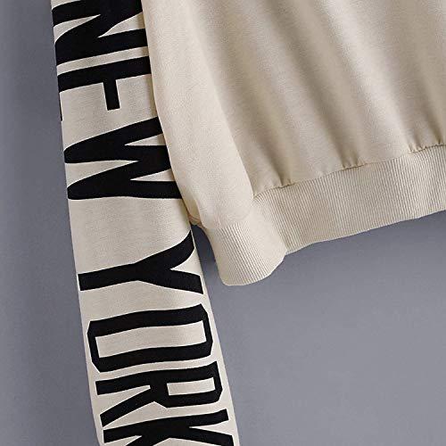 Sportivo Invernali Manica Pullover Casuali Beige Moda Hoodies Crop Digitale Eleganti Cappuccio Stampato Felpa Autunno Top Ragazza Felpe Donne Chic Lunga Con Sciolto Bx5TwqP