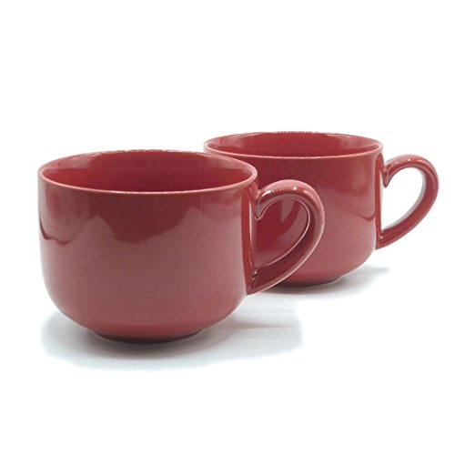 24 ounce Extra Large Latte Coffee Mug Cup or Soup Bowl with Handle - Red (Set of 2)