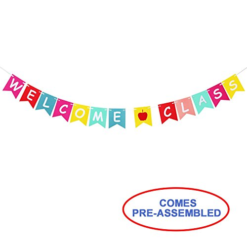 (Welcome Class Banner Bunting for Teachers - Back To School Hanging Sign Banner - First Day of School, Classroom Decor, Back To School Party Decorations)