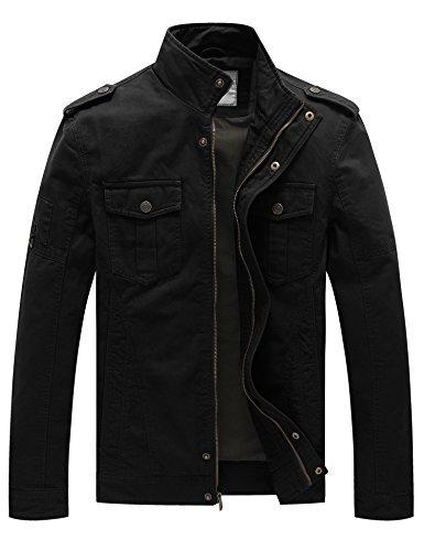 WenVen Men's Fall Casual Cotton Air Force Jacket (Black 1,US Size XL) -