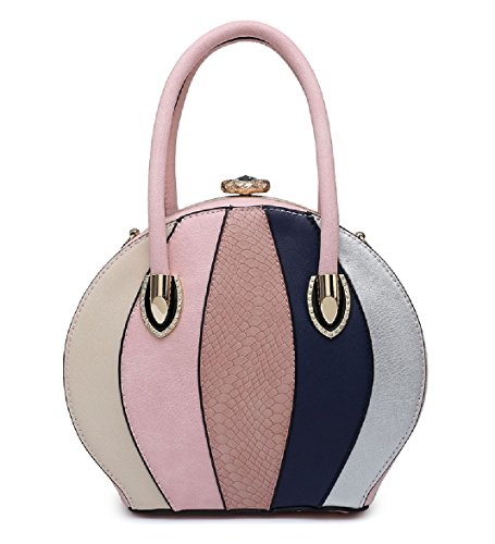 Handbag Clasp Multi Shoulder Gem Ladies Round Women's Handbag Bag Pink MA34975 Tote Panel qcIS4B4yE