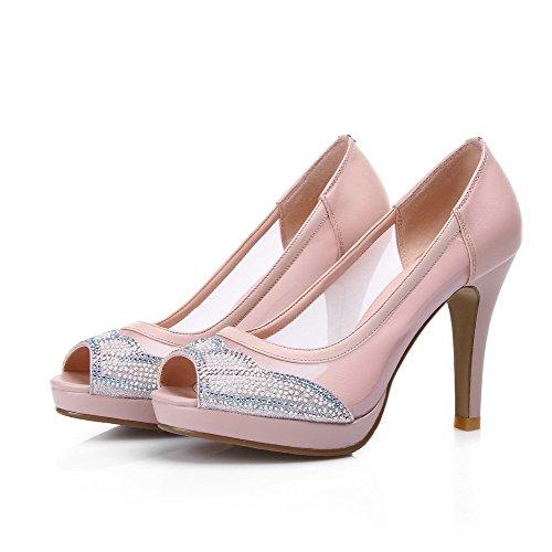 AalarDom Womens Pull-On High-Heels Blend Materials Solid Peep Toe Sandals Pink Eh9R7r
